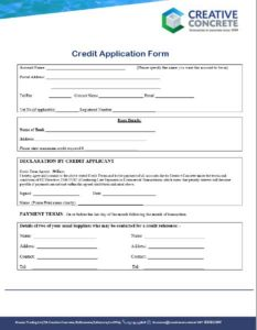 Creative Concrete Credit Application Form